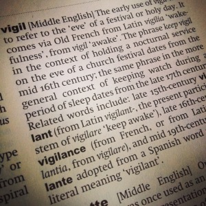 Dictionary page with definition for vigil